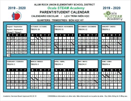 Academic Calendar - Ocala Steam Academy in Manteca Usd Academic Calendar