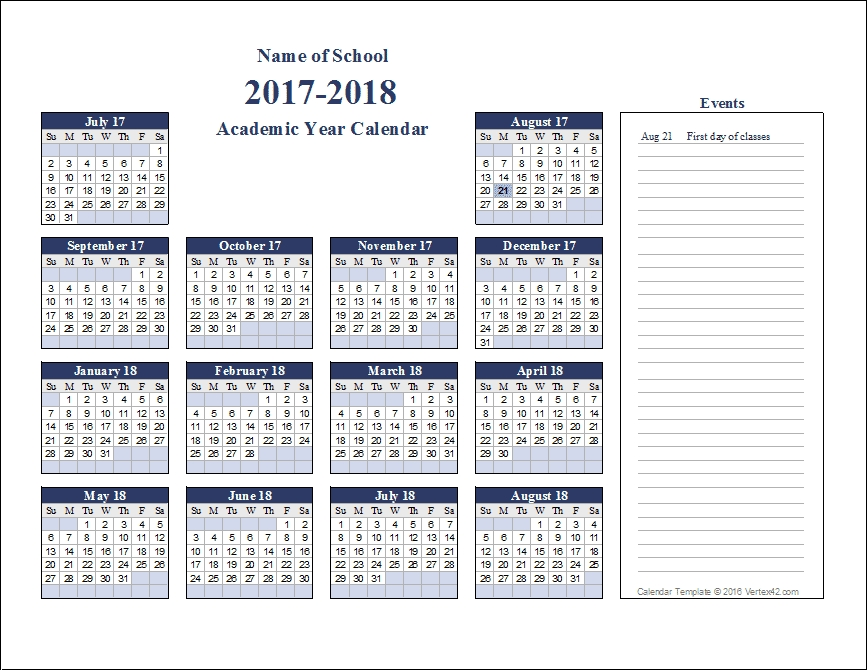 Academic Calendar Templates For 2020-2021 throughout Free Perpetual Calendar Chart