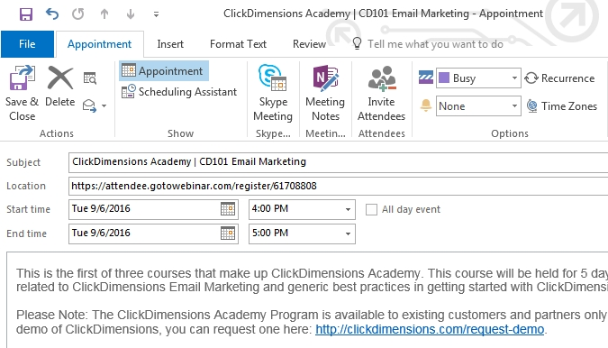 Add An Outlook Calendar Event To An Email Template inside Calendar Invite Example Outlook Graphics