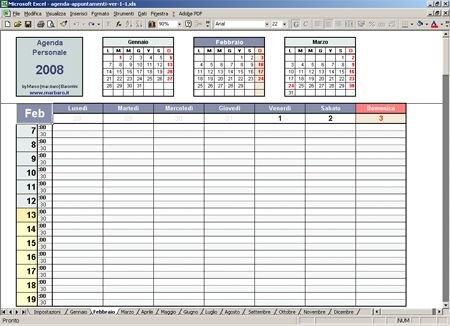 Agenda Appuntamenti Excel: Un'agenda Settimanale Gratis in Agenda Calendario Excel Image