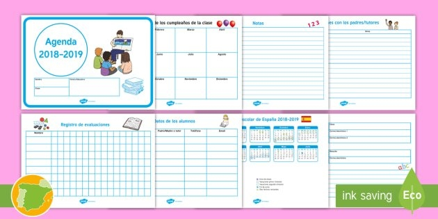 Agenda Y Calendario 2018-2019 (Teacher Made) inside Calendariosy Agendas Graphics