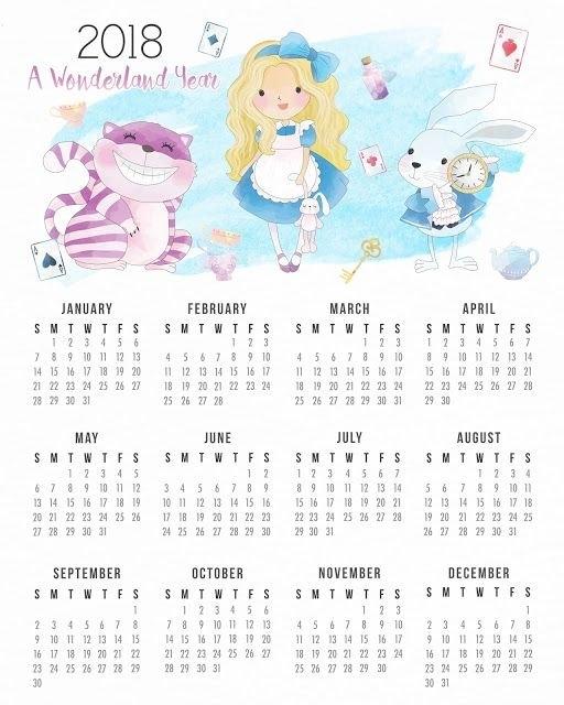 Alice In Wonderland 2018 Free Printable Calender. | Alice In pertaining to Alice Goldwing Calendario