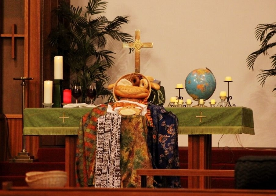 Altar For World Communion Sunday, Oct. 5, 2014, At pertaining to What Are The Alter Colors In The Methodist Church This Weekend