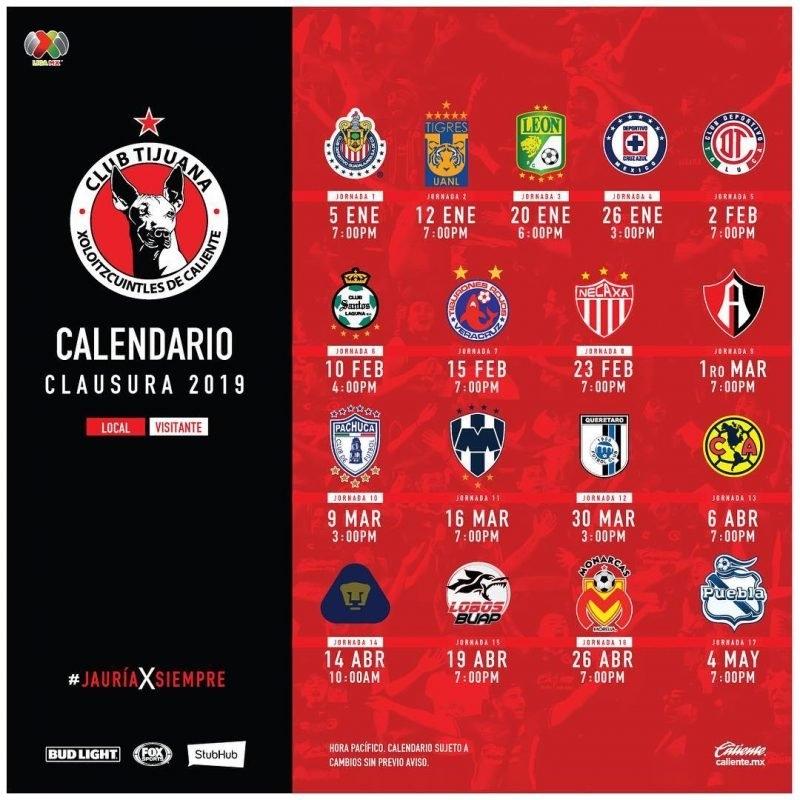 América Y Otros Siete Rivales En El Caliente (Calendario in Xolos De Tijuana Calendario Image
