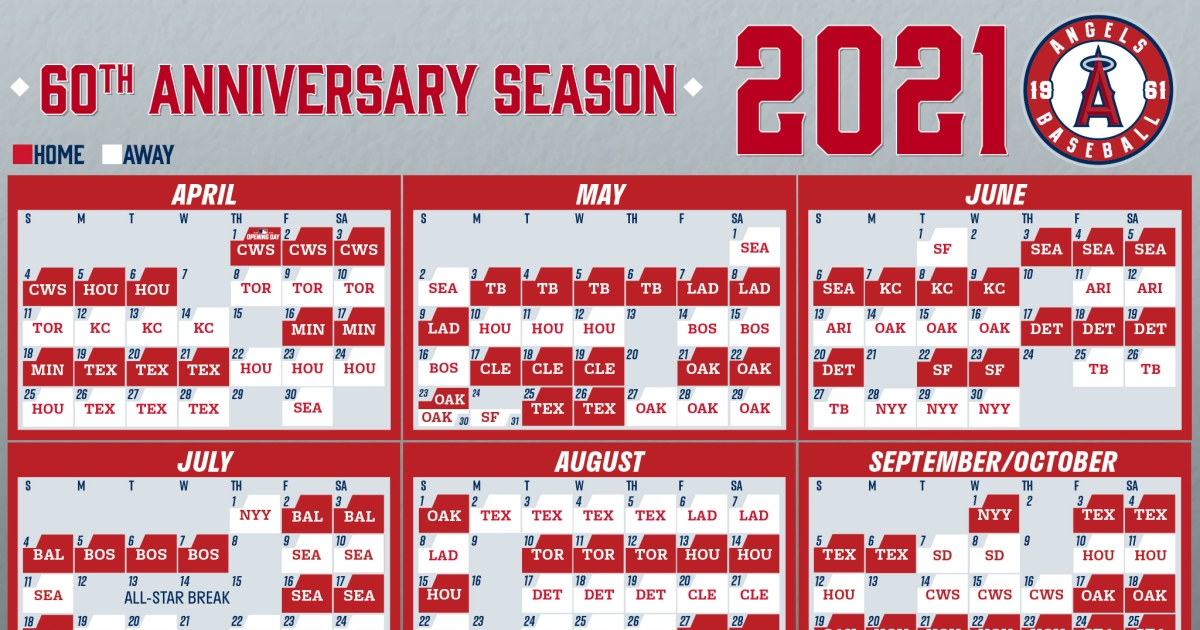 Angels Unveil Their Schedule For 2021 Mlb Regular Season with regard to Red Sox Calendar Schedule