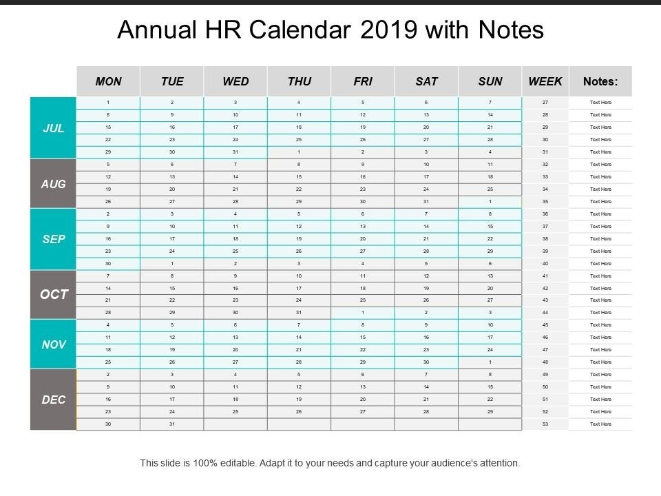 Annual Hr Calendar 2019 With Notes | Ppt Images Gallery inside Hr Calender