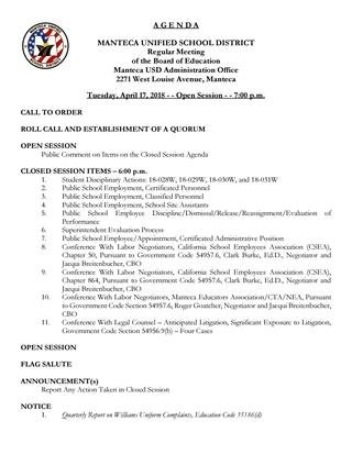 April 17 2018 Board Meeting Agenda And Supporting Documents with regard to Manteca Unified Calendar Image