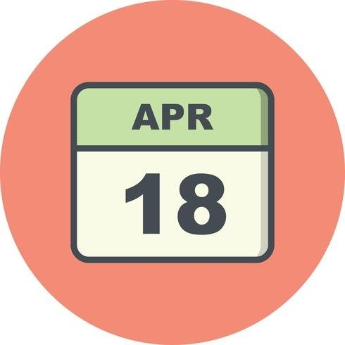April 18Th Date On A Single Day Calendar - Download Free pertaining to Single Day Calendar