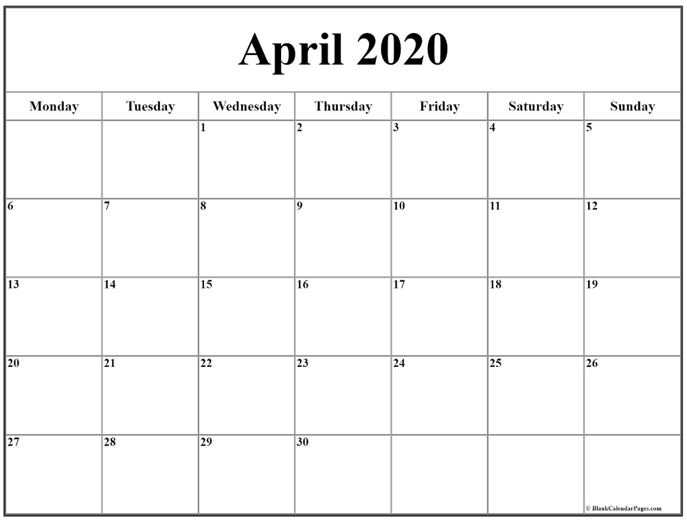 April 2020 Monday Calendar | Monday To Sunday In 2020 pertaining to Monday Thru Sunday Calendar Graphics