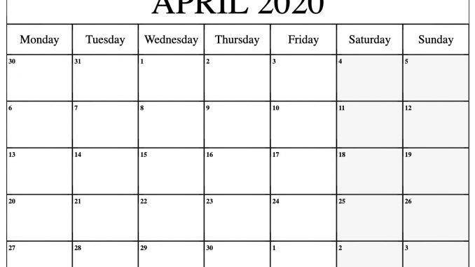 April 2020 Monthly Calendar Printable Template, #april pertaining to Printable Calendar 2020 Monthly No Weekends Photo