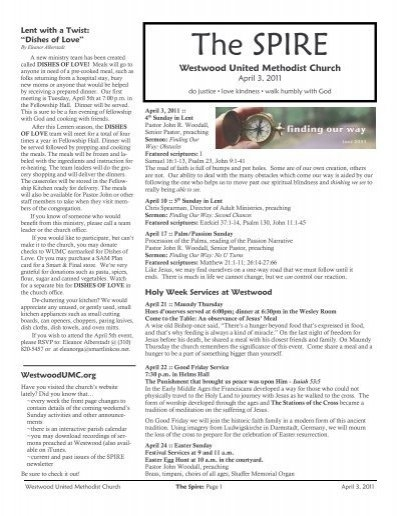 April 3, 2011 - Westwood United Methodist Church regarding United Methodist Church Parament Calendar Photo