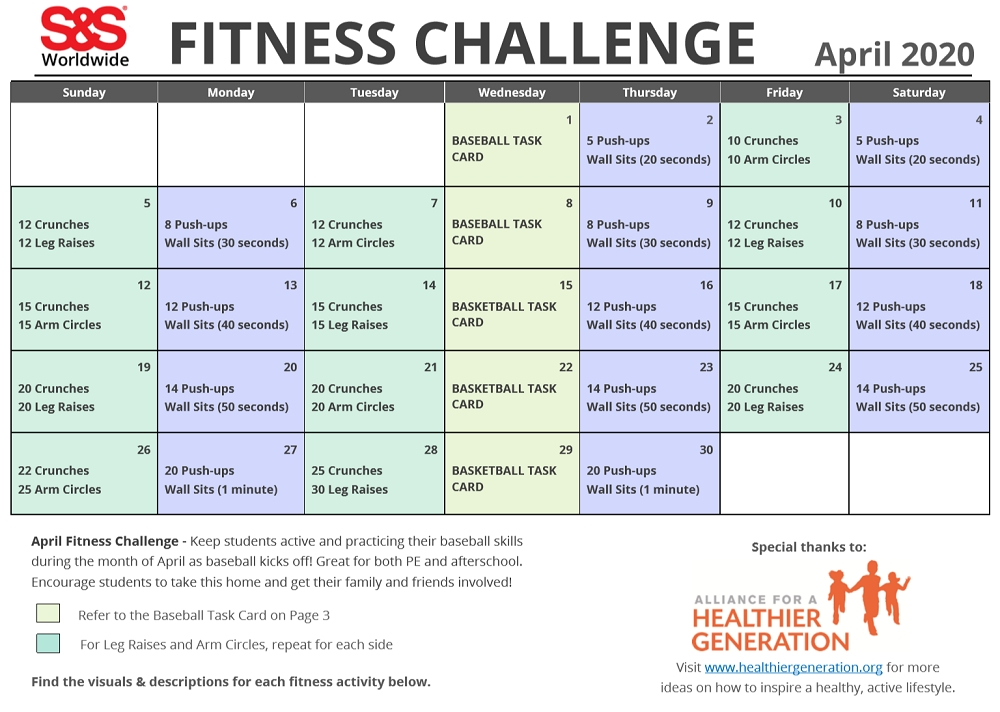 April Printable Fitness Challenge Calendar - S&s Blog with Ab Challenge Calendar Printable Image