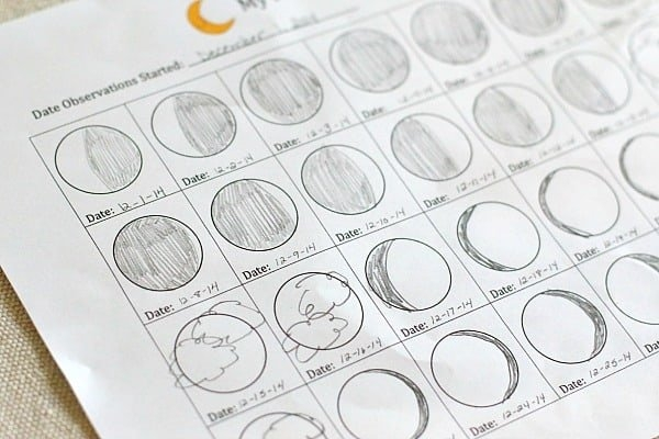Astronomy For Kids: Moon Journal (Free Printable) - Buggy in Moon Observation Calendar Worksheet Image