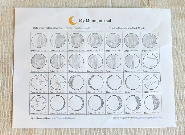 Astronomy For Kids: Moon Journal (Free Printable) - Buggy within Moon Observation Calendar Worksheet