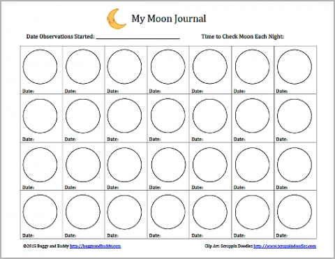 Astronomy For Kids: Moon Journal (Free Printable | Moon intended for Moon Observation Log Image