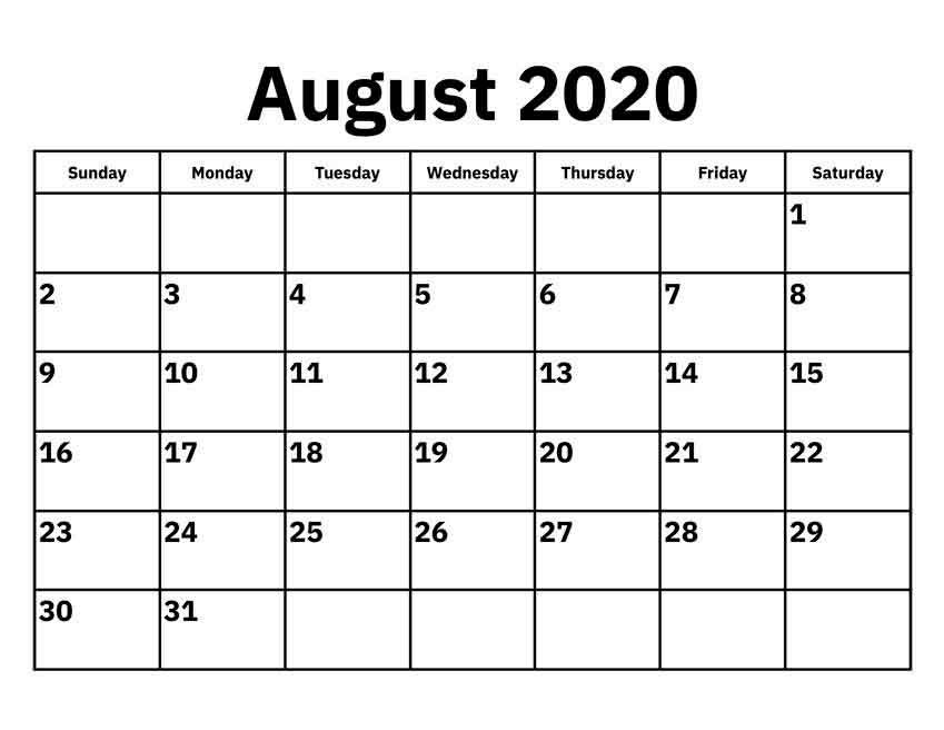 August 2020 Calendar Pdf - Free Printable Monthly Calendars with regard to 2020 Calendar Pdf