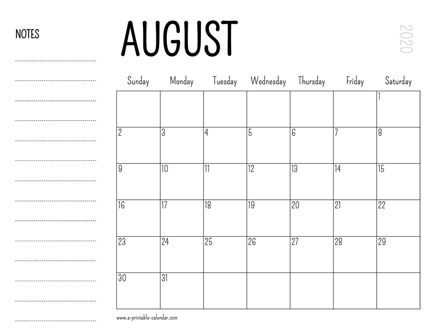 August 2020 Printable Calendar with 8 X 11 Printable Calendar Photo