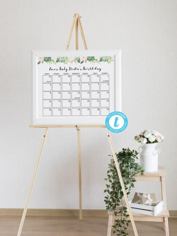 Baby Due Date Calendar Game, Guess Baby Birthday Calendar pertaining to Free Baby Guess Calendar Template