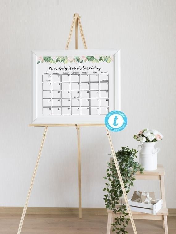 Baby Due Date Calendar Game, Guess Baby Birthday Calendar regarding Guess The Due Date Template