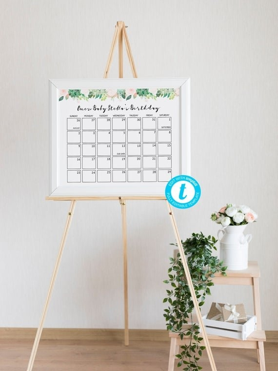 Baby Due Date Calendar Game, Guess Baby Birthday Calendar with Printable Baby Due Date Template Photo