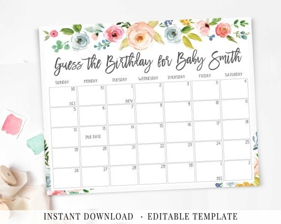 Baby Due Date Calendar, Printable Game, Guess Baby Birthday Game, Floral  Pink Blue Yellow, Watercolor Flower, Bpb26 in Guess The Date Template Download