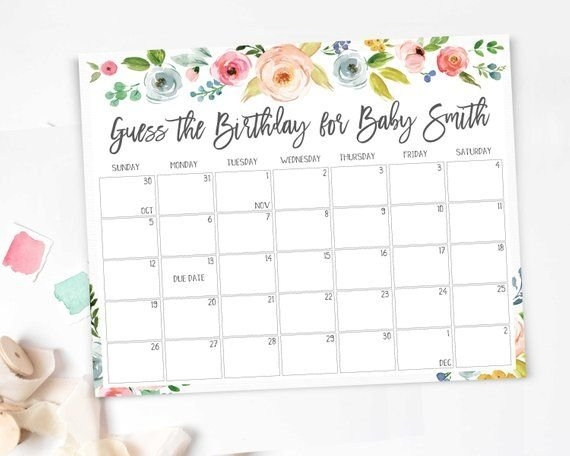 Baby Due Date Calendar, Printable Game, Guess Baby Birthday in Baby Due Date Print Out Image