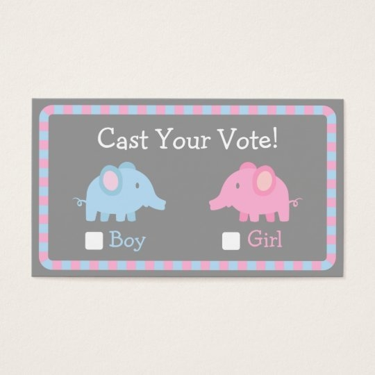 Baby Elephant, Gender Reveal Party, Ballot Vote within Guess Baby Date Ballot Image