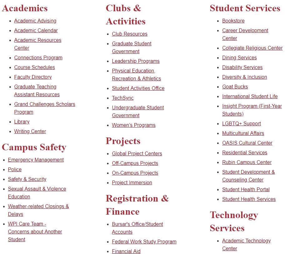 Bad Design. Wpi's Website Was Built To Accomplish… | within Wpi Academic Calendar Photo