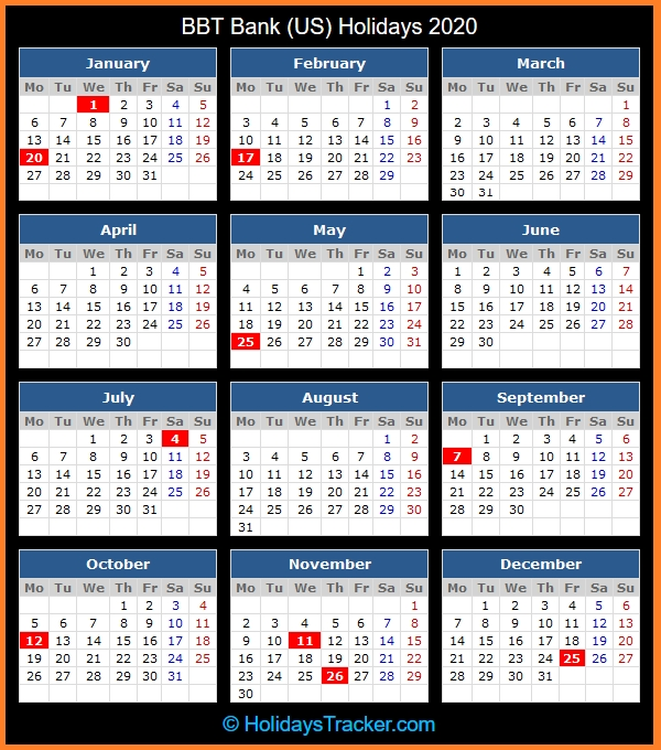 Bb&t Bank (Us) Holidays 2020 – Holidays Tracker with regard to Trid Calendar Bbandt Graphics
