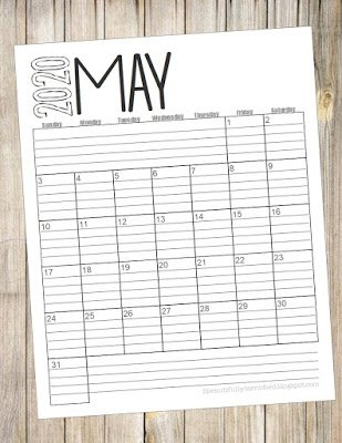 Beautifully Tarnished: Free 2020 {Lined} Monthly Calendars regarding Free Printable Lined Monthly Calendar 2020