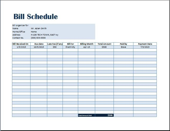 Bill Payment Schedule Template | Word & Excel Templates throughout Calendar And Invoicing Templates