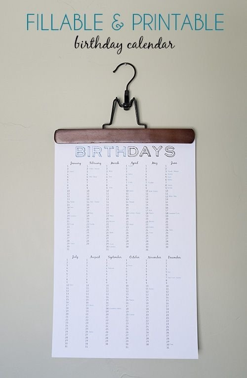 Birthday Reminder Chart (Free Printable) | Birthday Calendar in Free Perpetual Calendar Chart Graphics