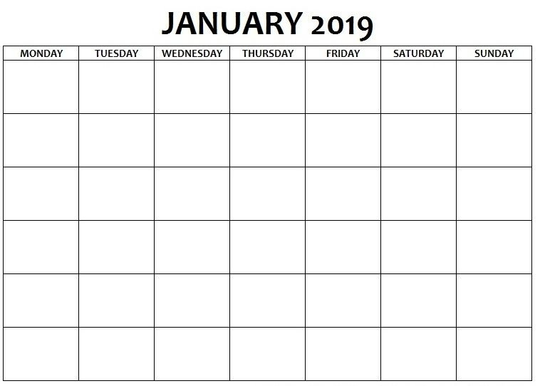 Blank Calendar January 2019 Monday To Sunday | Blank pertaining to Print Monday Through Sunday Calendar Photo