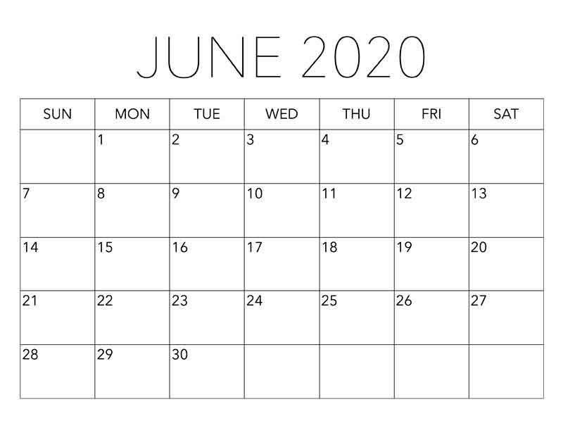 Blank Calendar June 2020 - Free Latest Calendar & Holidays for Blank Calendar 2020