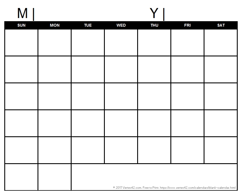 Blank Calendar Template - Free Printable Blank Calendars for Downloadable Calendar To Fill In And Print Off
