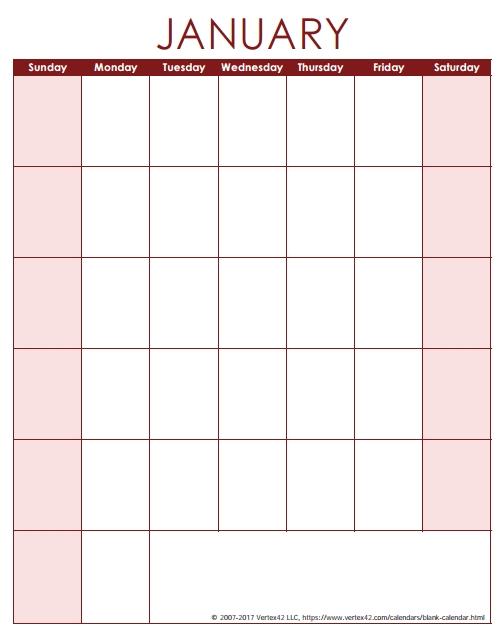 Blank Calendar Template - Free Printable Blank Calendars in 8 X 11 Blank Printable Calendar