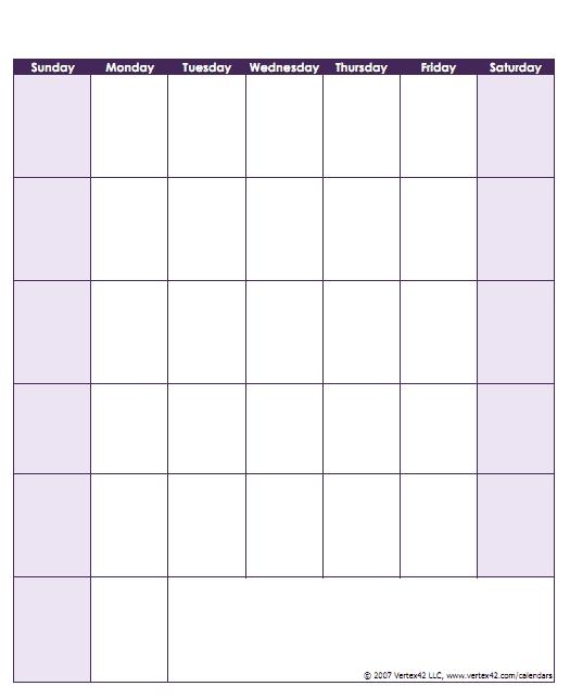 Blank Calendar Template - Free Printable Blank Calendars inside Blank Sunday Thru Sunday Schedule