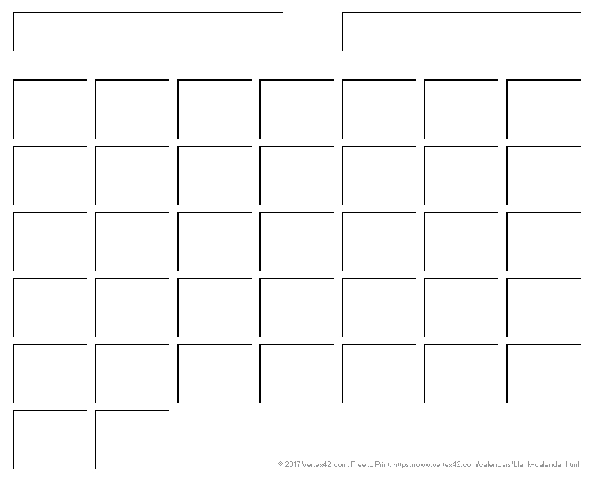 Blank Calendar Template - Free Printable Blank Calendars inside Calander With Large Empty Blocks For Wring Image