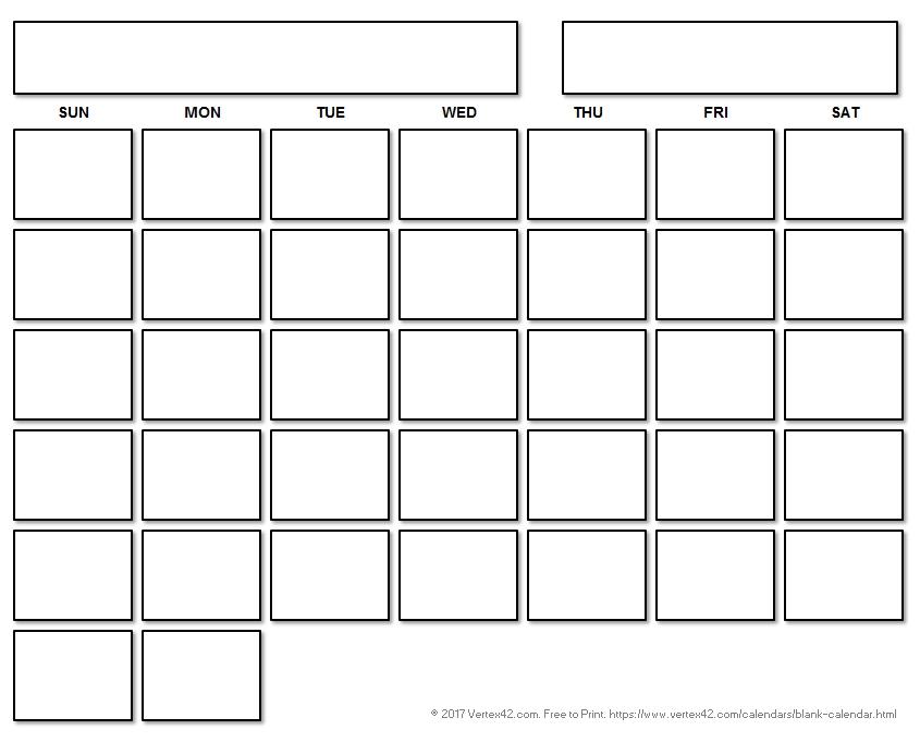 Blank Calendar Template - Free Printable Blank Calendars inside Fill Out Printable Calendar Image