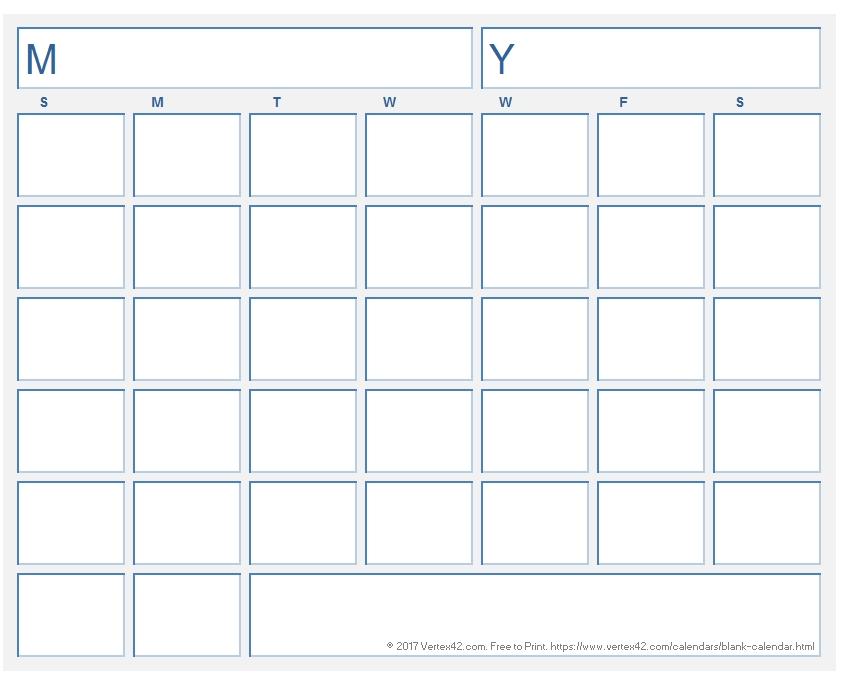 Blank Calendar Template - Free Printable Blank Calendars inside Print 90 Day Calendar