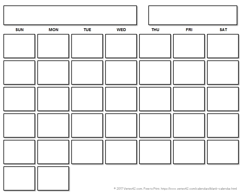 Blank Calendar Template - Free Printable Blank Calendars intended for Calander With Large Empty Blocks For Wring Image