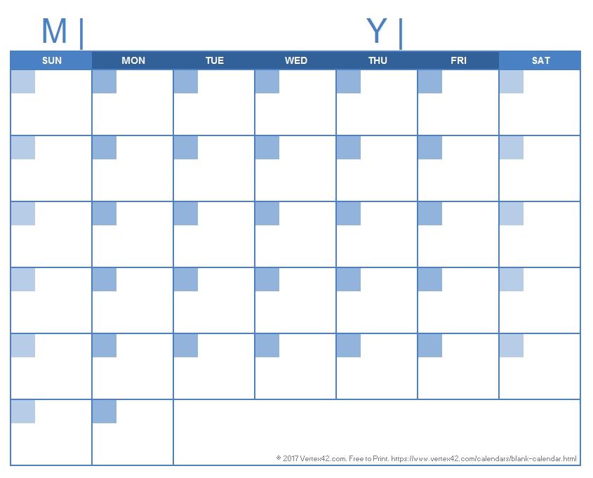 Blank Calendar Template - Free Printable Blank Calendars intended for Printable Calendar Days