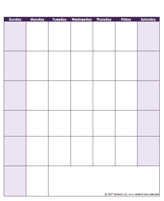 Blank Calendar Template - Free Printable Blank Calendars pertaining to Printable Calender Without Weekends