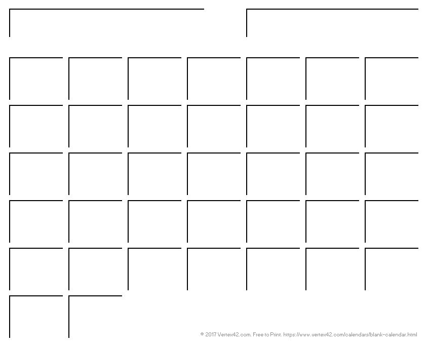 Blank Calendar Template - Free Printable Blank Calendars regarding Blank Large Block Calendar Template
