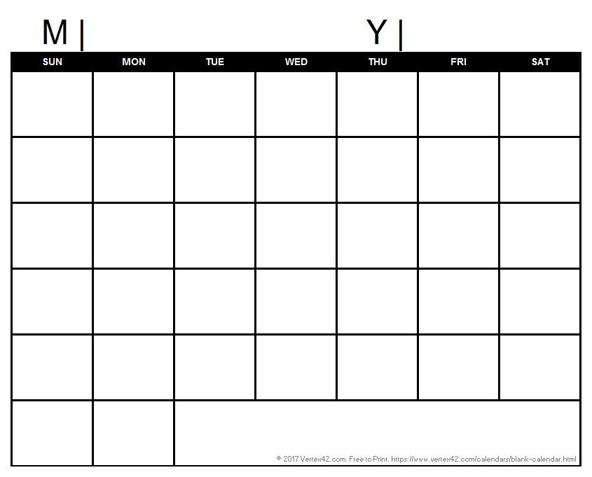 Blank Calendar Template - Free Printable Blank Calendars regarding Sunday Through Saturday Calendar Pdf