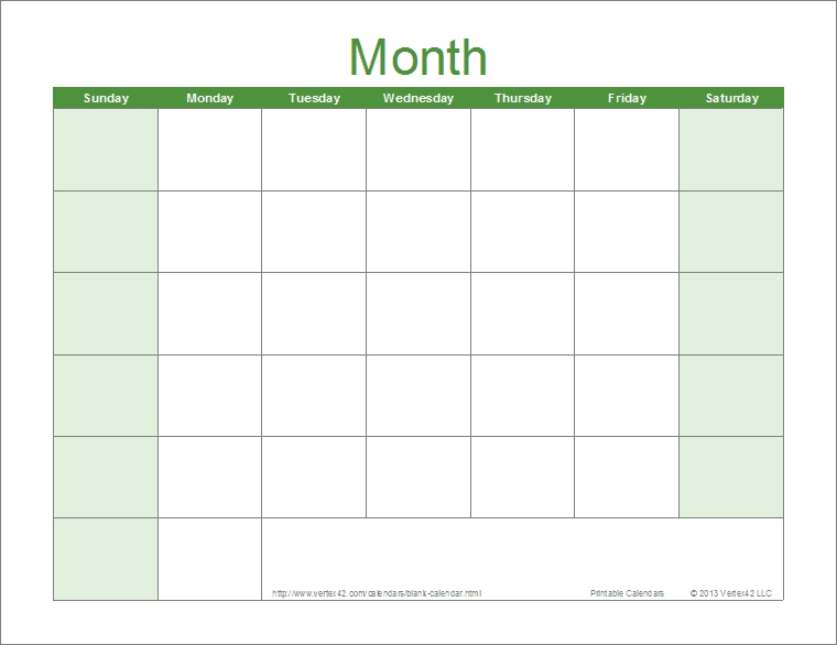 Blank Calendar Template - Free Printable Blank Calendars with 8X11 Blank Month Template