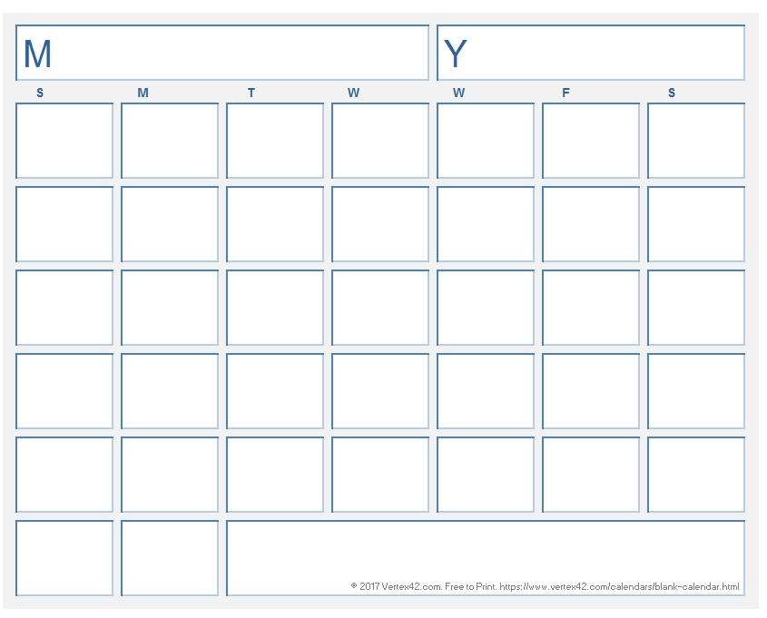 Blank Calendar Template - Free Printable Blank Calendars with Calander With Large Empty Blocks For Wring Image