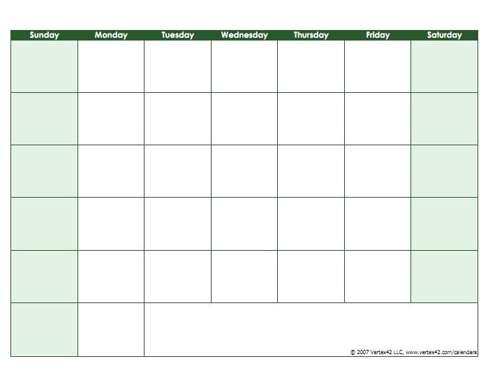 Blank Calendar Template - Free Printable Blank Calendars with Printable Calendar Weekdays Only Image