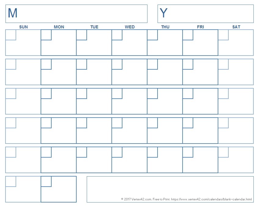Blank Calendar Template - Free Printable Blank Calendars with regard to Calander With Large Empty Blocks For Wring Image