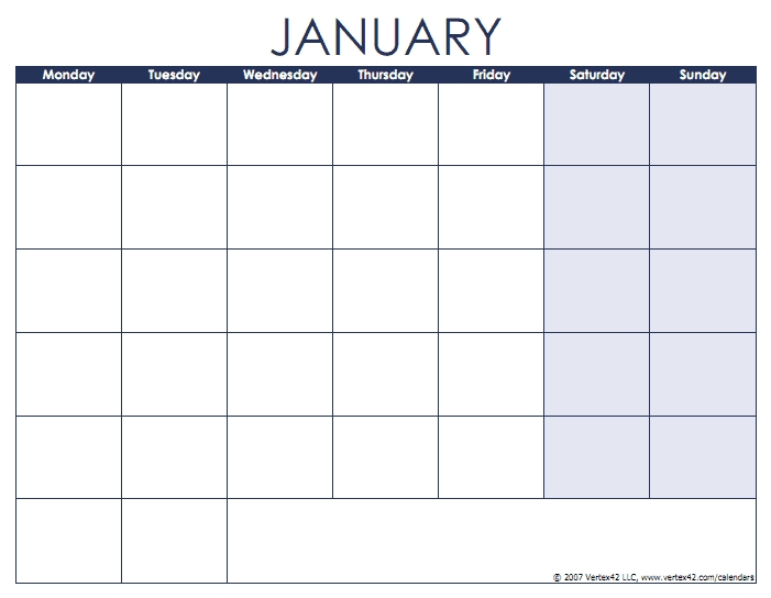 Blank Calendar Template - Free Printable Blank Calendars with regard to Print Monday Through Sunday Calendar Photo